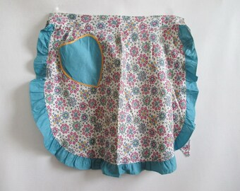 Apron 1940's Vintage Feedsack Print Turquoise Ruffle Still New