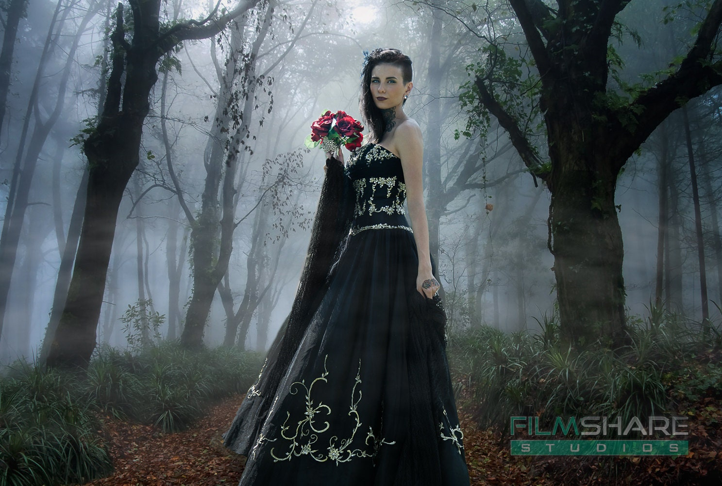 Black Gothic Wedding Dress Custom Made to by