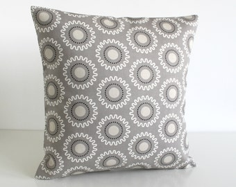 Geometric Cushion Cover, Accent Pillow, 16x16 Throw Pillow Cover, Pillow Sham, 16 Inch Pillowcase, Toss Pillow Cover - Cogs Taupe Grey
