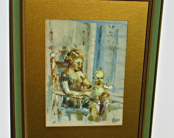 MCM Mother and Child Abstract Art Portrait - Mid Century Original Art Framed and Matted - by Artist Miller - Excellent - Ready to Hang