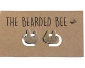 Cute Sloth Earrings, Handmade Sloth Stud Earrings, Sloth Studs