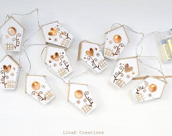 Led lights garland, wood white houses, metallic trends, fall winter home, party decor, made to order
