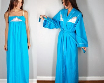 Sky Blue Night Gown and Robe, Matching Cotton Robe and Maxi Dress, Sky Blue with Pink Clouds, Vintage Lingerie, xs, S, M, L