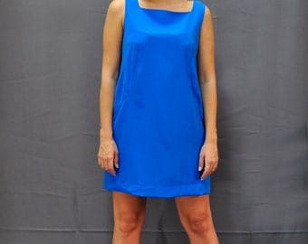 Casual Blue Dress.Mini Dress.Sleeveless Summer Dress.Designer Unique Clothing.Free Shipping.To Oder.