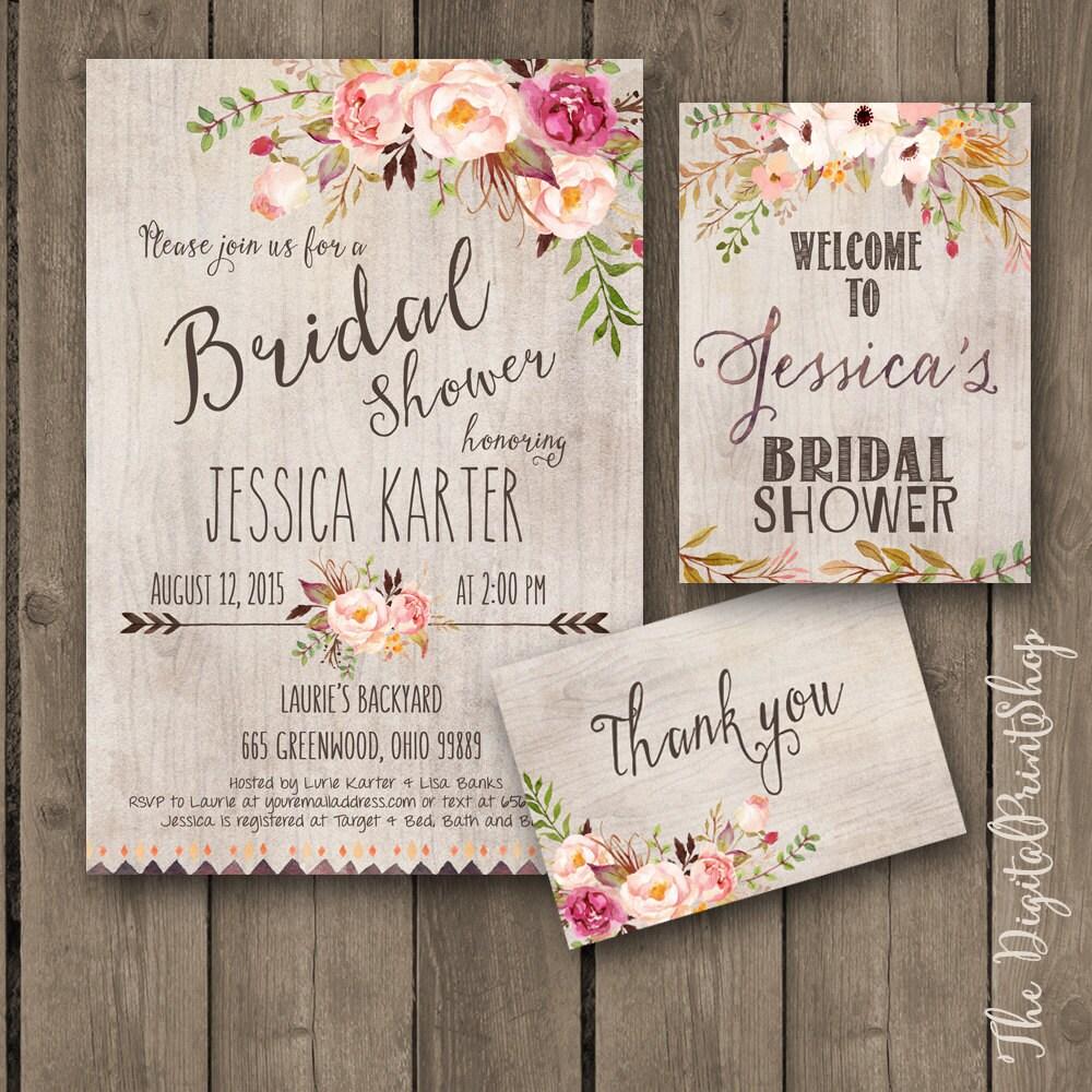 printable bridal shower invitation rustic garden shower invite