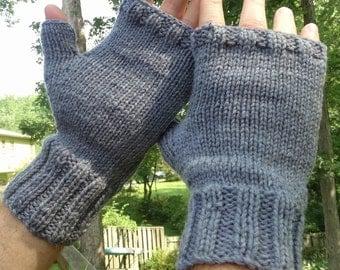 Fingerless Gloves Men's Fingerless Gloves Handknit Light Heathered Gray Merino Wool Fingerless Gloves Handwarmers Light Gray Men's Gloves