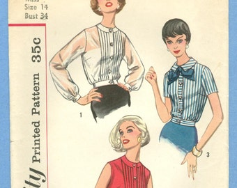1958 Misses' Pintuck Overblouse - Blouse Gathered at Waist Size 14 - Vintage Simplicity Sewing Pattern 2456