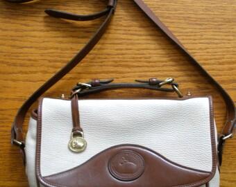 Dooney And Bourke White Leather Carrier Shoulder Bag