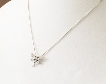 Sterling Silver And Rhinestone Dragonfly Pendant Necklace 18""