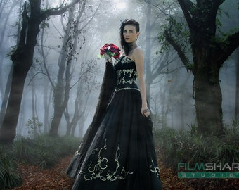 Black Gothic Wedding Dress Custom Made to your Measurements