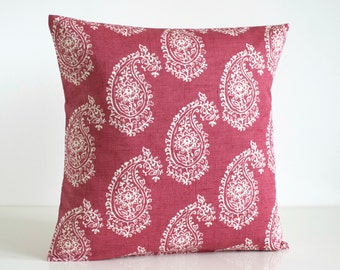 Cottage Chic, Decorative Pillow Cover, Red Cushion Cover, Shabby Chic Pillow Sham, Pillowcase, Toss Pillow - Paisley Raspberry