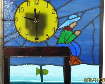 Little Boy Fishing Clock