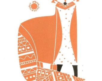 Red Fox Print Linocut - Printmaking Art - Contemporary Decorative Fox -  Hand Pulled Original Lino Block Print, - Modern - Orange and Black