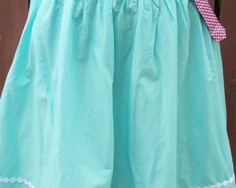 Turquoise Skirt-Altered White Lace-Pink Elephant Vera Bradley Belt-Size 8
