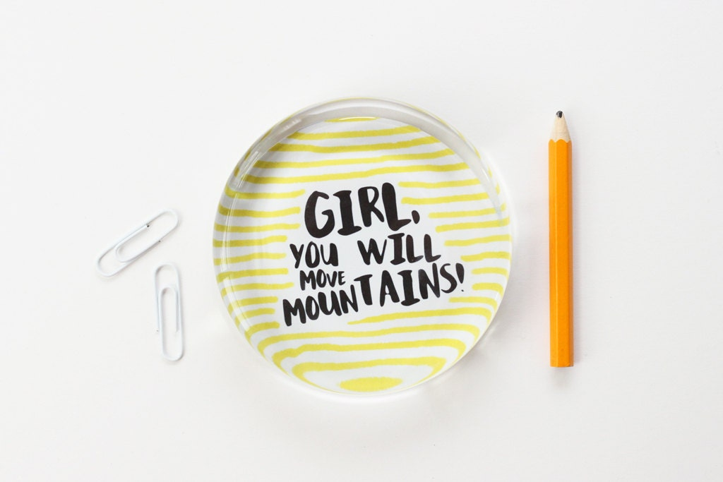 Girls Office Inspirational Quote Paperweight Black Yellow