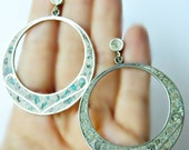Large Sterling Silver Hoops / Turquoise Vintage Mexico
