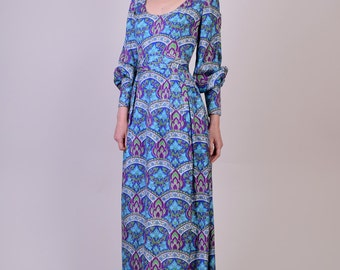 Vintage 1960s Vintage Silk Maxi Dress by Lord and Taylor with Matching Belt