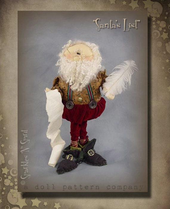"""Pattern: Santa's List - 20"""" Santa"""