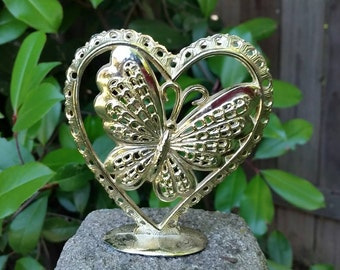 Torino Earring Holder Heart Butterfly 1970s 70s 1980s 80s Gold Metal Earring Display Earring Storage Pierced Earrings Earring Tree Vintage