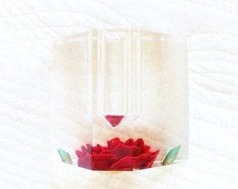 Vintage Cottage Home Pomegranate Red Heirloom Rose Pen Holder, Romantic Home, Olives and Doves