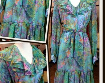 SALE Vintage Lilli Diamond Chiffon Blue Floral Dress with Ruffles