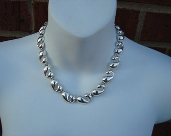 Vintage MONET Silver tone Chunky Vintage Necklace