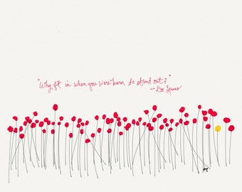 Nursery Wall Art, Red Poppies, Inspirational Quote, Unique Gift