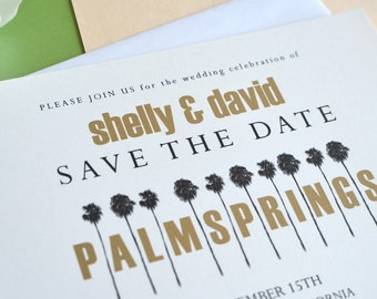 Palm Springs Row of Palm Trees Wedding Save the Date Cards (set of 25 cards)