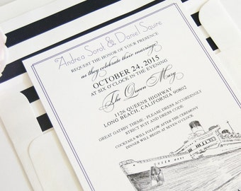 Long Beach Queen Mary Skyline Wedding Invitations Package (Sold in Sets of 10 Invitations, RSVP Cards + Envelopes)