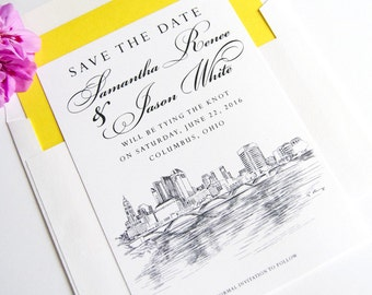 Columbus, Ohio Skyline Save the Dates, Columbus Wedding, Ohio, Save the Date, Columbus Save the Date Cards, STD (set of 25 cards, envelopes)