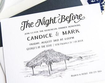 La Jolla, Windansea Beach Weddings Skyline Rehearsal Dinner Invitations (set of 25 cards)