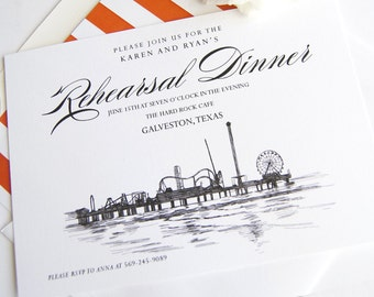 Galveston, Texas Skyline Hand Drawn Rehearsal Dinner Invitations (set of 25 cards)