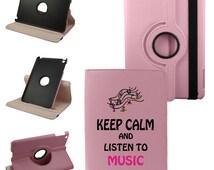 Keep Calm And Listen To Music iPad Mini, iPad 2nd, 3rd, 4th Gen, iPad Air (5th Gen), iPad Air 2 (6th Gen) Synthetic Leather Rotating Case