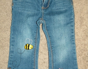 CLEARANCE! Toddler Jeans Hand Embroidered 24MONTH Upcycled