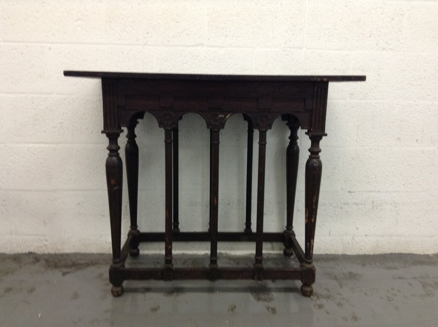Vintage rectangular wooden table kitchen island shabby - Table haute console ...