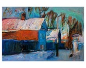 Magic Winter, Original Expressionist Landscape Oil Painting Blue Snow Village Trees Wooden Country House Large Format Art Colorful Cityscape