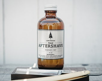 ROSEMARY MINT AFTERSHAVE: All Natural Witch Hazel Aftershave (Rosemary and Mint Scent) - Shaving Supplies Made in Canada, Gifts for Him