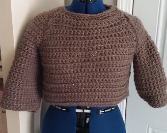 Striped Mocha Crop Sweater