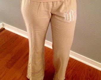 SALE!!! Monogrammed crochet trimmed linen pants