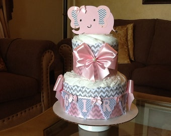 Elephant diaper cake Light pink and grey chevron baby girl diaper cake Baby shower Gift /Centerpiece