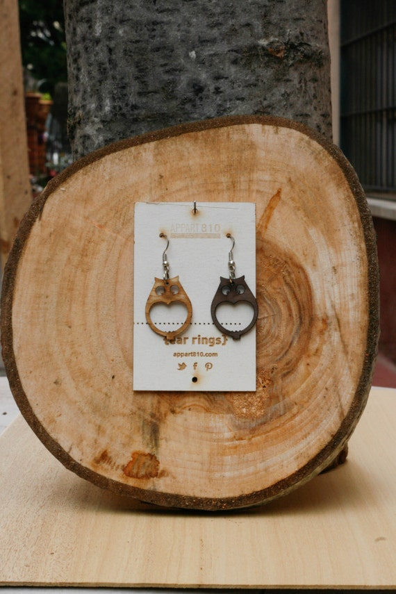 Rembrandt. Wooden earrings are cut and laser engravings.