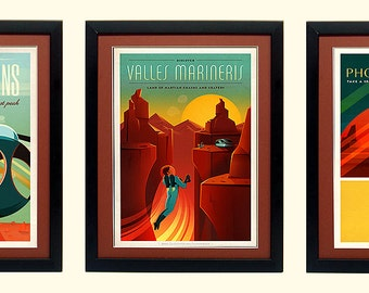 Spacex Mars Poster Set Lithographic A+ Quality Framed