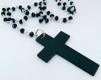 Rosary Style Necklace with a Wooden Cross