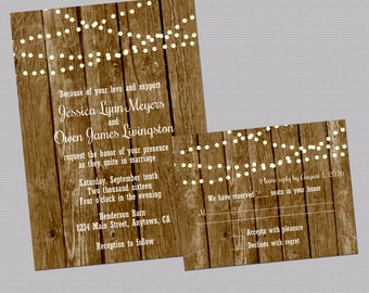 Country Wedding Invitations, Rustic Wedding Invites, Wood Wedding Suite, Printable Wedding Invitations, Lights Invitations, Digital