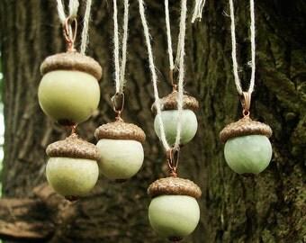 Stone acorn pendant - green