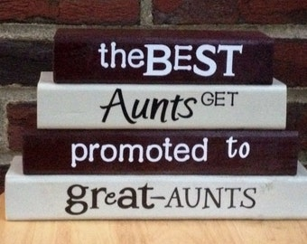 The BEST AUNTS get promoted to GREAT Aunts baby reveal wood blocks stacking block set personalized gift for home decor...