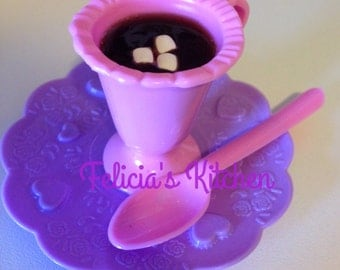 Hot chocolate drink for american girl dolls, american girl doll drinks, hot chocolate with mini marshmallows, drinks for dolls