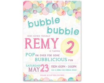 Bubble Theme Birthday Party Invitation - 5x7