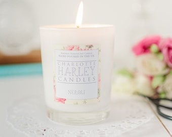 Neroli Soy Wax  Shabby Chic Hand Poured Aromatherapy Candle, Luxury Candle