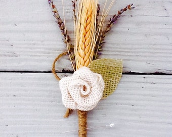 Grooms boutonniere-Lavender wheat burlap Rosette Boutonniere/groom/groomsmen/father of the bride/